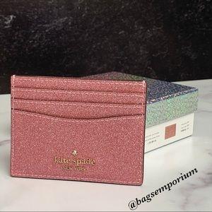 Kate Spade Pink Glitter Credit Card Case Wallet